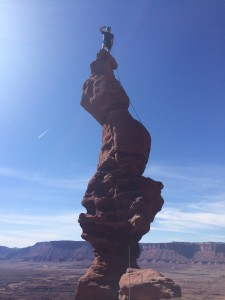 Keenan climbing Ancient Art 5.8 Outside Moab Utah near Canyonlands