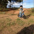 riding dirt on the strider bike, never used training wheels!