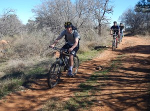 Family mountain biking together at Reveille Peak Ranch-Texas Hill Country
