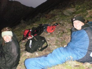 Sleeping on the side of a mountain